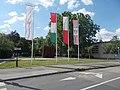 Katyń Massacre memorial and flagpoles, 2018 Óbuda.jpg