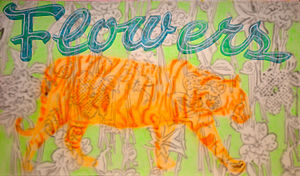 Horst Keining - Horst Keining - Flowertiger, 210 cm x 370 cm, resin on canvas, 2011, Copyright W. Rieger and the artist