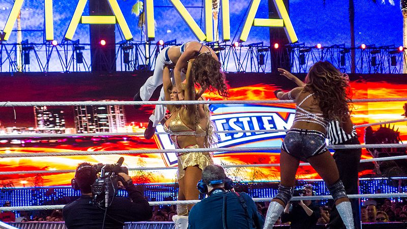 File:Kelly Kelly and Maria Menounos v Beth Phoenix and Eve at Wrestlemania XXVIII (7206043052).jpg
