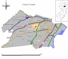 Map of Kenilworth in Union County. Inset: Location of Union County highlighted in the State of New Jersey.