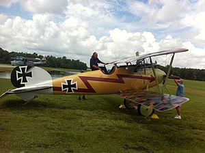 Fantasy of Flight - Kermit Weeks boards his Albatros D.Va in preparation for its first flight at Fantasy of Flight