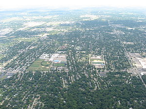 Kettering, Ohio - Aerial view, centered on Kettering Fairmont High School