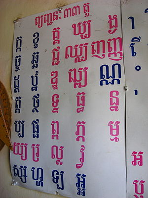 English: A poster bearing Khmer script in a sc...