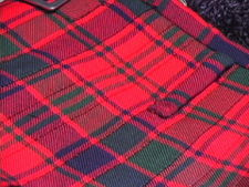 A kilt, showing the stitched down top 1/3 or so of the upper portion.