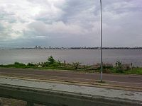 Kinshasa seen from Brazzaville. The two capitals are seperated by the Congo River