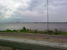 Kinshasa seen from Brazzaville. The two capitals are separated by the Congo  River.