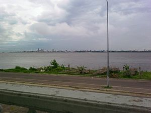 Brazzaville - Kinshasa seen from Brazzaville. The two capitals are separated by the Congo River.