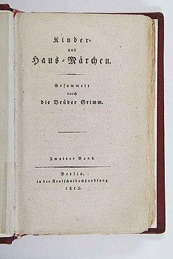 Kinder und Hausmärchen (Grimm) 1812 II p 001.jpg