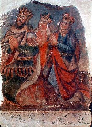 Ashkhen - Tiridates III with his wife Ashkhen and sister Khosrovidukht by Naghash Hovnatan.