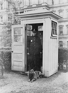 Sentry box booth erected to provide elementary shelter to a sentry