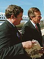 Kit Bond and George H. W. Bush in front of Air Force One.jpg