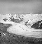Knik Glacier, valley glacier with medial moraine, August 25, 1964 (GLACIERS 5010).jpg
