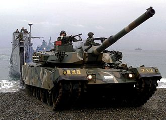 Republic of Korea Army - K-1 88 main battle tank during an amphibious beach assault exercise