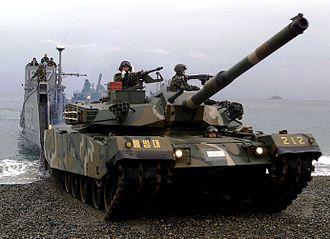 Republic of Korea Army - K-1 88 main battle tank during an amphibious beach assault exercise