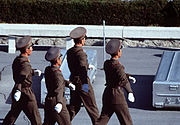 Korean People's Army Soldiers prepare to repatriate remains during a repatriation ceremony at the Panmunjom Joint Security Area on 981106-F-AF179-013