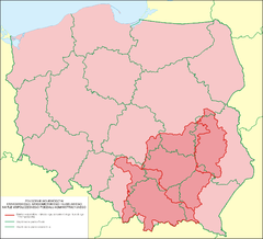 The historical region of Lesser Poland (shown in darker pink) within the borders of present-day Poland