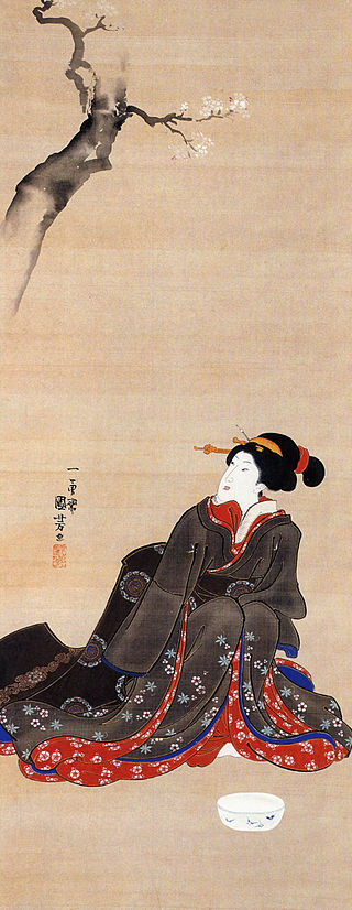 Kuniyoshi Utagawa, Woman seated under a cherry blossoms.jpg