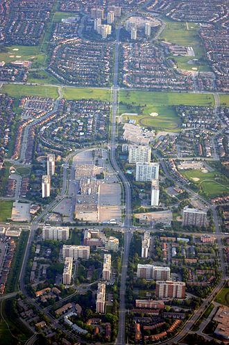 L'Amoreaux - Aerial view of L'Amoreaux. The area developed into a residential area, made up of single-detached homes, townhouses, and high-rise apartments.