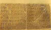Lápida sepulcral de la reina Doña Blanca de Borbón, esposa de Pedro I el Cruel, rey de Castilla y León. Convento de San Francisco de Jerez de la Frontera (Cádiz).jpg