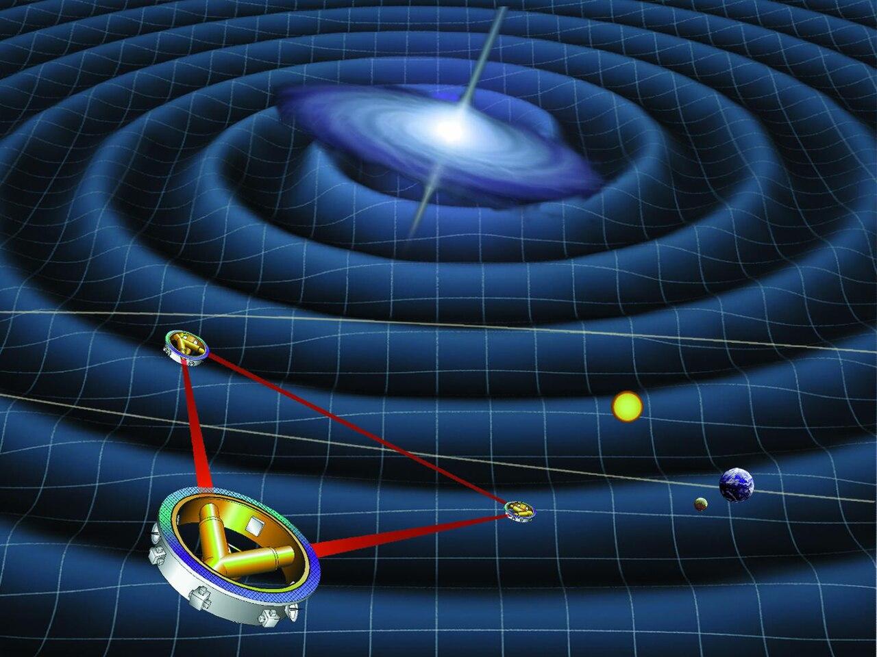 ภาพจำลองยานอวกาศ Laser Interferometer Space Antenna หรือ LISA  ทั้งสามตัวกำลังตรวจหาคลื่นความโน้มถ่วงที่แผ่ขยายออกมาจากหลุมดำมวลยวดยิ่ง โดยยาน LISA มีกำหนดส่งขึ้นสู่อวกาศในปี ค.ศ. 2034
