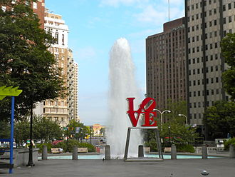 Love (sculpture) - JFK Plaza with the Philadelphia Museum of Art in the distant background