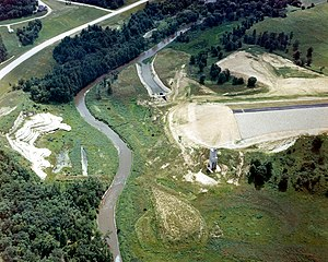 Wisconsin Highway 131 - The incomplete Kickapoo River Dam in 1975, when construction stopped
