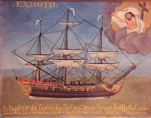 Slave ship - La Rochelle slave ship Le Saphir ex-voto, 1741.