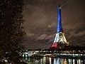 La tour Eiffel illuminée en bleu blanc rouge - Fluctuat nec Mergitur - Liberté, égalité, fraternité (22565852263).jpg