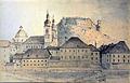 Ladislav Benesch - Ljubljanska stolnica s pozidanim Pogačarjevim trgom (akvarel, 1869).jpg