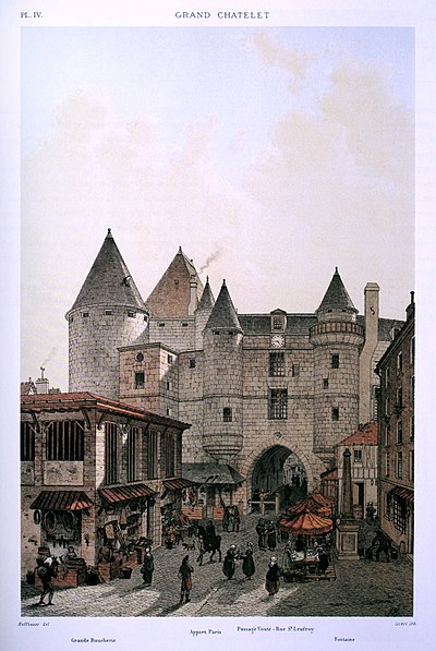 The Grand Chatelet from the north where about 220 people were killed. Le Grand Chatelet vu depuis la rue Saint-Denis, 1800.jpg