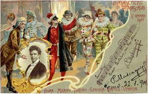 Le maschere - Souvenir postcard for the premiere