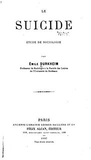 <i>Suicide</i> (book) book by Émile Durkheim published in 1897