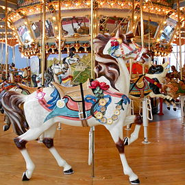Lead Horse On The Woodside Amusement Park Carousel