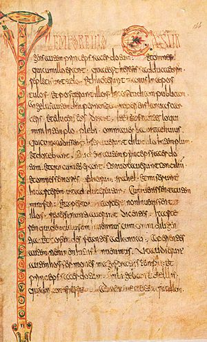 Merovingian script - Folio 144 of the Lectionary of Luxeuil, manuscript Lat. 9427, at the National Library of France, written in the Luxeuil type. The folio's content consists of Acts 5:17-25. Tempore illo exsur- / gens autem princeps sacerdotum: et omnes / qui cum illo erant· quae est heresis sadducaeorum·...