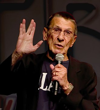 Development of Spock - Nimoy demonstrating the Vulcan salute in 2011