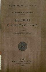 Giacomo Leopardi: Puerili e abbozzi vari