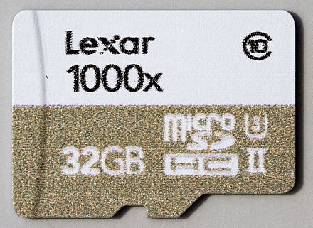 32GB Lexar 1000x microSDHC card (with UHS-II and UHS Speed Class 3 markings) Lexar 1000x MicroSDHC UHS-II U3 Class 10 - Front.jpg