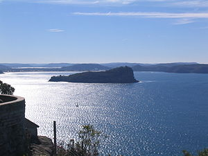 Lion Island (New South Wales) - Lion Island viewed from the south with Umina Beach and Brisbane Water in the background.