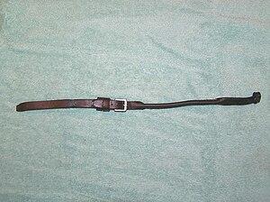 Lip strap - A leather lip strap