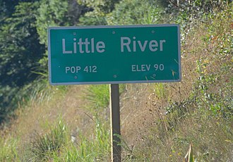 Little River, California - Road sign