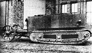 Little Willie - Little Willie showing its rear steering wheels, September 1915