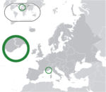 Map showing Monaco in Europe