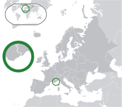 Location o  Monaco  (green) on the European continent  (green & dark grey)