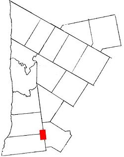 Exeter, Ontario on a map of Huron County