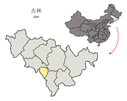 Liaoyuan City (yellow) in Jilin (light grey) and China