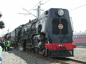 Mainline Steam Heritage Trust - K<sup>A</sup> 942 at the 100 year anniversary of the North Island Main Trunk Railway in Feilding being lined up for a locomotive cavalcade.
