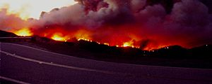 Corral Fire - Image: Looking down on the Corral Canyon brush fire from Latigo Cyn Rd Malibu CA