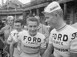 Lucien Aimar, Jacques Anquetil and Arie den Hartog, Tour de France 1966 (cropped).jpg