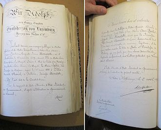Prince Oscar Bernadotte - Image: Luxembourg Grand Ducal letters patent 1892