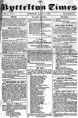 Lyttelton Times - Image: Lyttelton Times, first edition